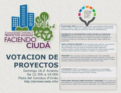 Seis proyectos optan a 3.000 euros del salario de los concejales de Somos para financiar sus iniciativas