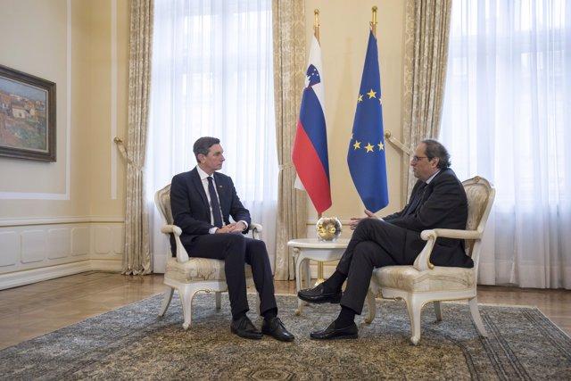 El president d'Eslovènia, Borut Pahor, i el de la Generalitat, Quim Torra
