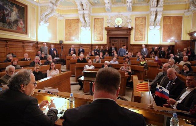El president de la Generalitat, Quim Torra, en una conferència a Eslovènia