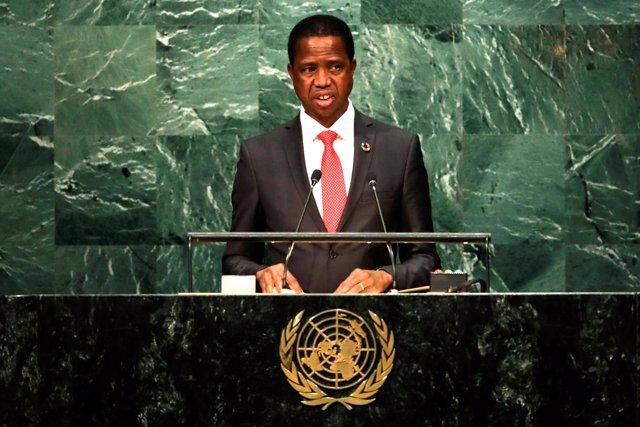 El presidente zambiano, Edgar Lungu, ante la Asamblea General de Naciones Unidas