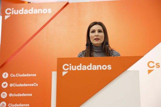 Rueda de prensa de la senadora de Ciudadanos Lorena Roldán en la sede del partid