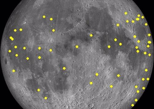 Localizaciones de flashes lunares