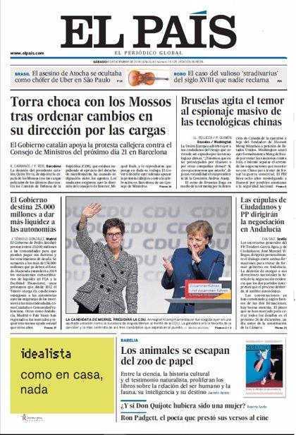 Las portadas de los periódicos del sábado 8 de diciembre del 2018