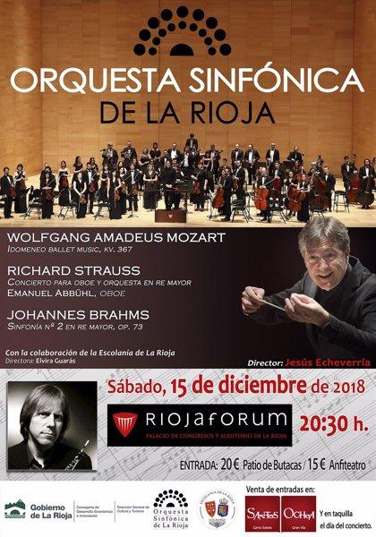 La Orquesta Sinfónica de La Rioja, junto al solista Emanuel Abbühl, interpretará a Mozart, Strauss y Brahm en Riojaforum