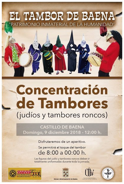 Baena celebra este domingo la declaración de las 'tamboradas' como Patrimonio de la Humanidad