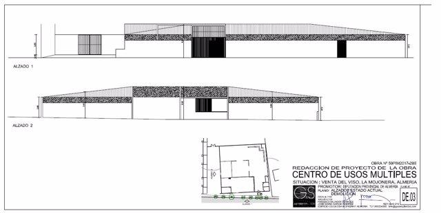 Plano del proyecto de centro multiusos que se ejecutará en La Mojonera.