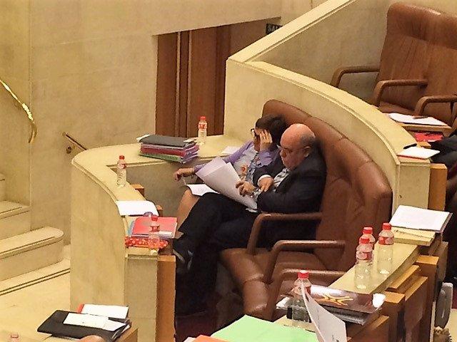 María Luisa Real y Juan José Sota en el Pleno del Parlamento (arcivo)