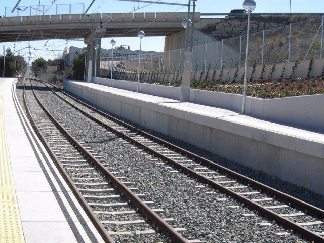Vías, metro, tren, estación.