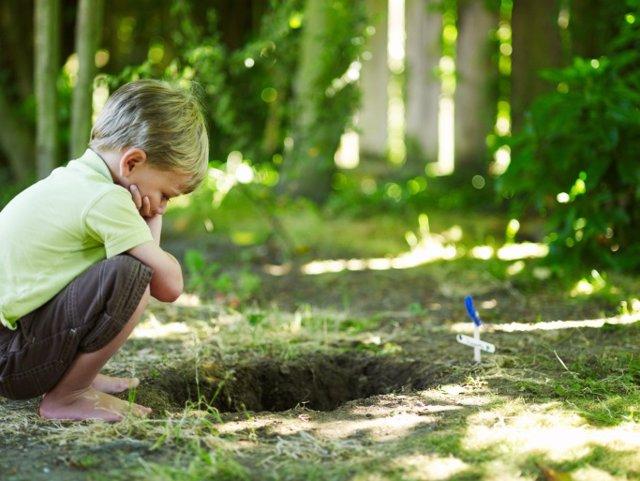 Niño mira a una tumba