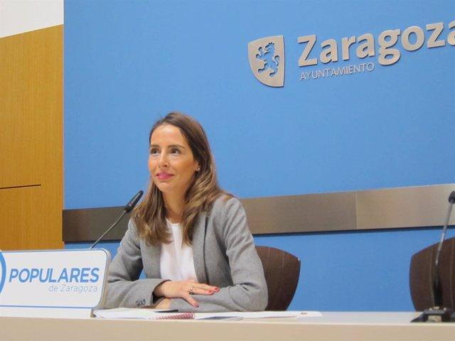 La concejal del PP, María Navarro, este lunes en rueda de prensa