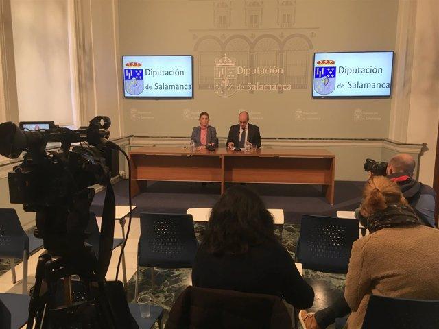 Iglesias en rueda de prensa en la Diputación de Salamanca