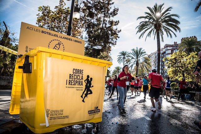 Reciclaje de 15 toneladas de residuos en la maraton