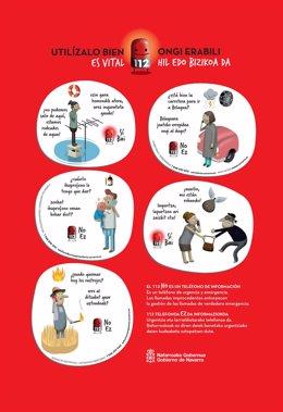 Cartel de la campaña de sensibilización del uso del teléfono 112.