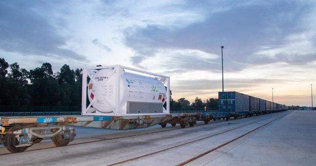 Isocontenedor con GNL que ha realizado una prueba de transporte multidmodal.