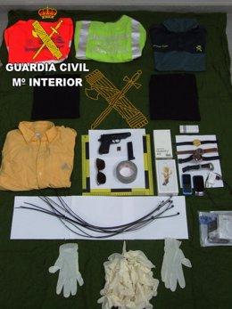 Intervención de efectos de un presunto ladrón en Massanassa