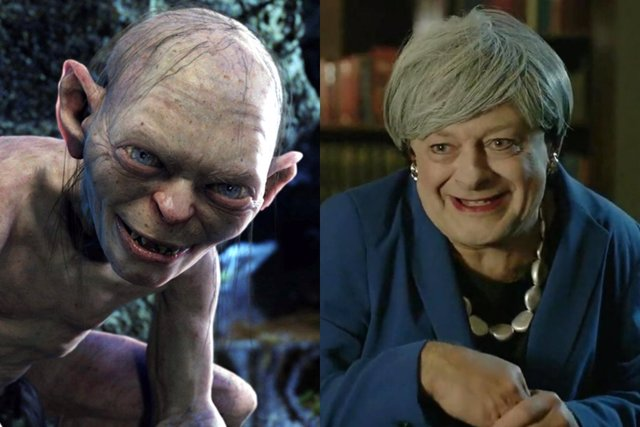 Andy Serkis parodia a Theresa May