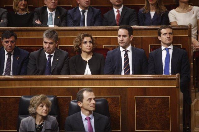 Cosidó, portavoz del PP en el Senado, en la bancada 'popular' del Congreso