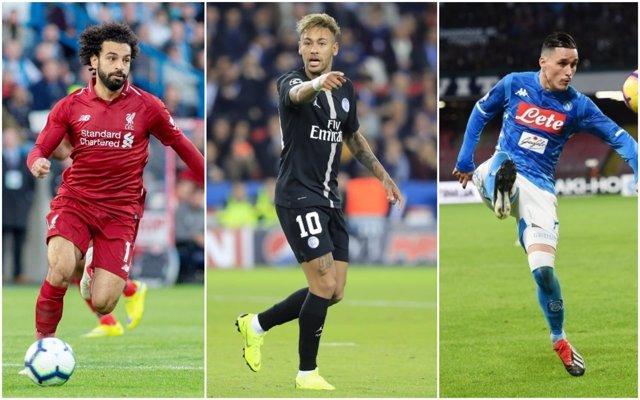 Salah (Liverpool), Neymar (PSG) y Callejón (Nápoles)