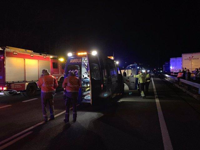 Imagen del accidente en la N-121-A en el que ha fallecido una persona