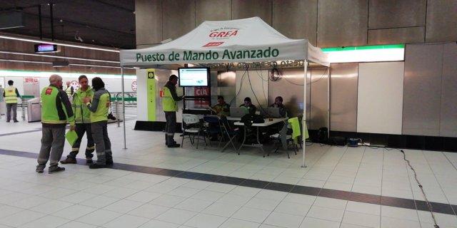 Ejercicio simulacro emergencia metro de málaga puesto de mando avanzado 112 GREA