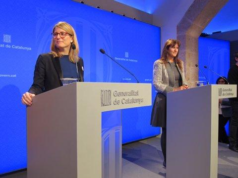 La portaveu Elsa Artadi i la consellera de Cultura Laura Borràs