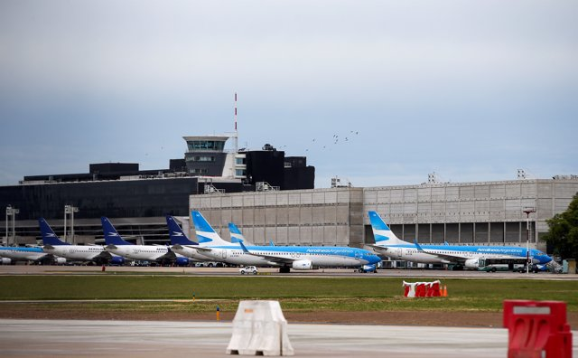 Planes of the Argentina's state-owned airline Aerolineas Argentinas are seen dur