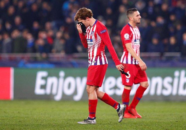 Antoine Griezmann lamenta el empate en Brujas
