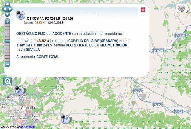 Cortado un sentido de la A-92 en Albolote (Granada) por accidente de un camión