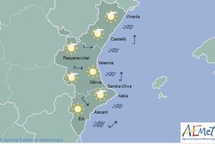 Cielos despejados y mínimas en ascenso este miércoles en la Comunitat Valenciana