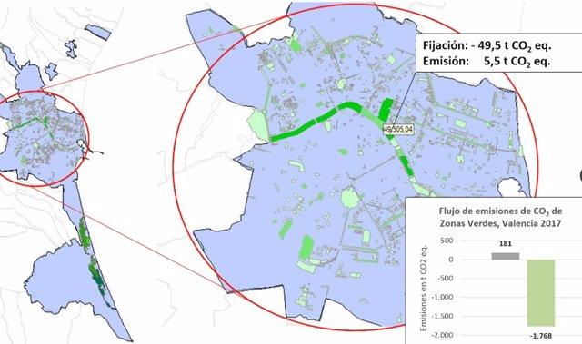 Mapa de Flujo de emisiones de Zonas Verdes, Valencia 2017