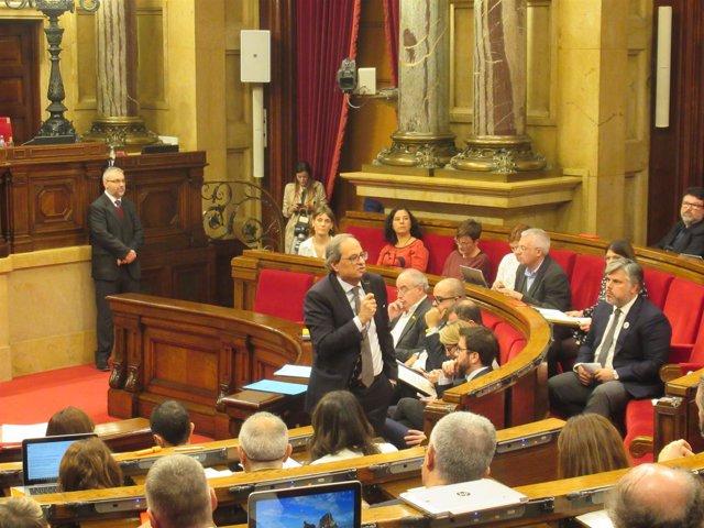 El presidente de la Generalitat, Q.Torra, en la sesión de control del Parlament