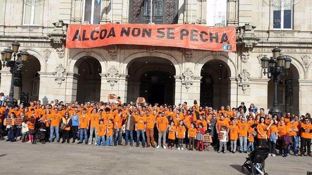 Manifestación de trabajadores de Alcoa este sábado en A Coruña