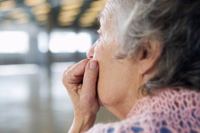 Depresión, preocupación, mujer, mayor