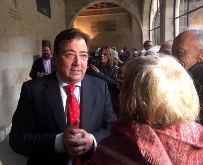 """Fernández Vara valora el mensaje """"contundente, firme y sereno"""" de Pedro Sánchez por la situación en Cataluña"""