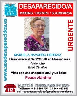 Alerta de búsqueda emitida tras la desaparición