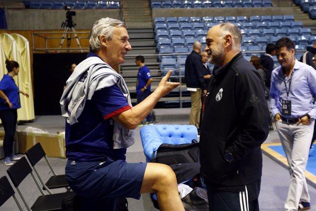 Laso (Real Madrid) y Pesic (Barcelona)