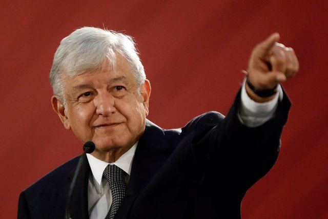 Mexico's new President Andres Manuel Lopez Obrador holds a news conference at Na