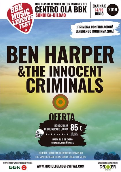 Ben Harper & The Innocent Criminals, primera confirmación del BBK Music Legends Festival 2019
