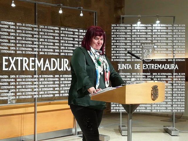 Begoña García Bernal en rueda de prensa sobre el cava este miércoles en Mérida
