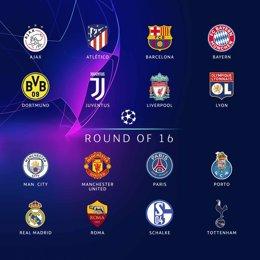 Equipos clasificados para octavos de final en Champions