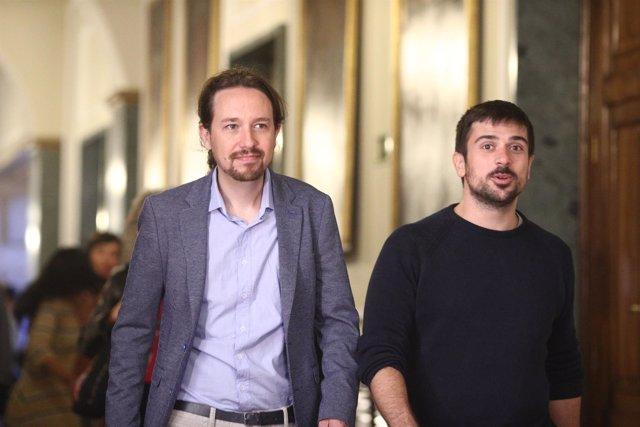 Pablo Iglesias y Ramón Espinar en el Senado