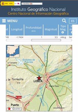 Imagen con los datos del terremoto