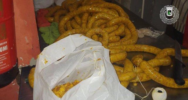 Carne requisada en un local de Usera