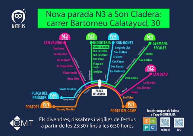 Nueva parada del 'Nit Bus' en Son Cladera