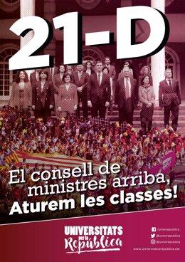 Cartel del paro propuesto por Universitats per la República por el 21D