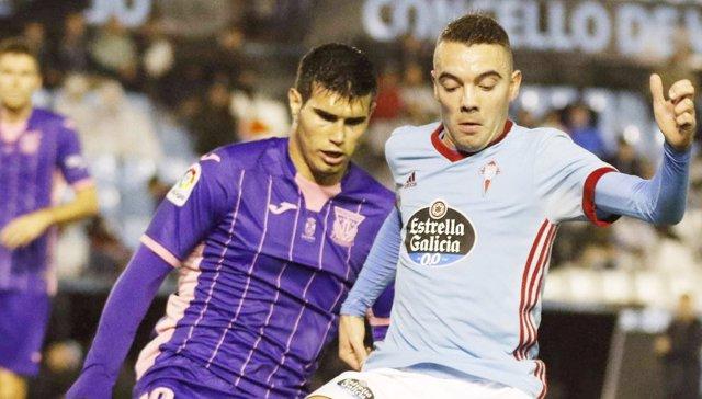 Ezequiel Muñoz y Iago Apas en un Celta - Leganés
