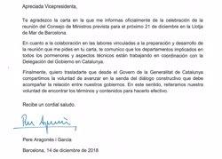 EL GOVERN RESPONDE A CALVO POR CARTA QUE QUIERE BUSCAR LA FORMULA DE UN DIALOGO CONSTRUCTIVO