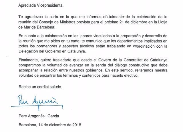 Carta de Aragonès a Carmen Calvo