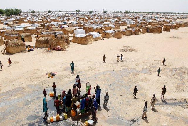 Campamento de desplazados a las afueras de Maiduguri