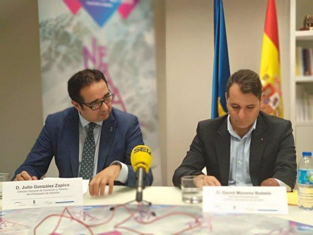 Julio González Zapico y David Moreno (alcalde de Aller) presentan Nevaria 2018